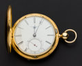 Timepieces:Pocket (pre 1900) , James Stoddart London Massive Gold Lever Fusee Presented to N.Andrews by the employees of the Crown Point Mine Gold Hills Nev...