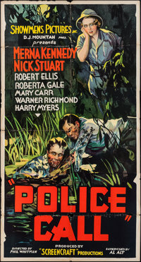 """Police Call (Showmens Pictures, 1933). Three Sheet (41"""" X 79""""). Crime"""