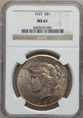 Peace Dollars: , 1927 $1 MS61 NGC. NGC Census: (355/3598). PCGS Population(203/5320). Mintage: 848,000. Numismedia Wsl. Price for problemf...