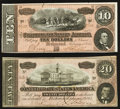 Confederate Notes:1864 Issues, T67 $20 1864;. T68 $10 1864.. ... (Total: 2 notes)
