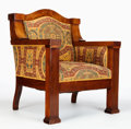 Furniture : Continental, AN AUSTRIAN BIEDERMEIER UPHOLSTERED WALNUT ARMCHAIR . Makerunknown, Austria, circa 1820. 36-1/2 x 31-1/4 x 28-1/2 inches (9...