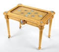 Furniture : Continental, AN INDIAN GILT WOOD CENTER TABLE INSET WITH PAINTED MINIATURES . Maker unknown, probably Agra, India, circa 1890. 22-1/2 x 3...