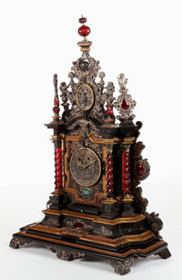 A GERMAN EBONY, EBONIZED WOOD, WALNUT, SILVER, GLASS AND HARDSTONE MOUNTED CASE CLOCK Maker unknown, Germany, 17th