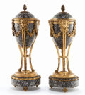 Decorative Arts, French:Other , A PAIR OF FRENCH LOUIS XVI-STYLE GILT BRONZE AND GRANITECASSOLETTES WITH REVERSIBLE COVERS . Maker unknown, France, circa1... (Total: 4 Items)