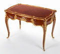 Furniture : French, AN IMPORTANT FRANÇOIS LINKE LOUIS XV-STYLE KINGWOOD, PARQUETRY ANDGILT BRONZE CENTER TABLE . François Linke (French, 1855-...