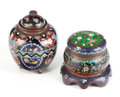 Asian:Other, TWO ASIAN CLOISONNÉ COVERED VESSELS . 20th century. 4-1/8 incheshigh (10.5 cm). ... (Total: 2 Items)