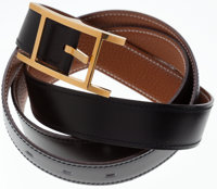 Hermes Black Leather Reversible Gold and Black Hapi H Belt with Gold Buckle