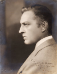 "John Barrymore by Melbourne Spurr (1930s). Autographed Portrait Photo (10.5"" X 13.5"")"