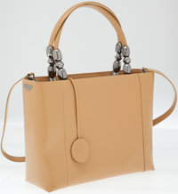 Christian Dior Tan Leather Top Handle Bag with Shoulder Strap