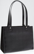 Luxury Accessories:Bags, Ferragamo Black Leather and Suede Logo Tote Bag. ...