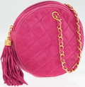 Luxury Accessories:Bags, Chanel Pink Quilted Suede Round Evening Bag with Gold Hardware andTassel. ...