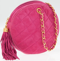 Chanel Pink Quilted Suede Round Evening Bag with Gold Hardware and Tassel