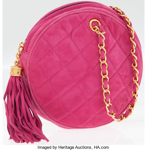 011650aca484 Chanel Pink Quilted Suede Round Evening Bag with Gold Hardware