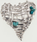 Luxury Accessories:Accessories, Christian Lacroix Woven Silver Heart and Turquoise Pin. ...