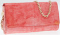 Luxury Accessories:Bags, Judith Leiber Pink Crocodile Flap Clutch with Shoulder Chain. ...