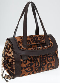 Jimmy Choo Leopard Pony Hair and Leather Flap Shoulder Bag