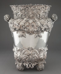 A MONUMENTAL CONTINENTAL SILVER VASE WITH LINER Maker unknown, probably Italy, circa 1950 Marks: (effaced maker