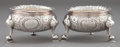 Silver Holloware, British:Holloware, A PAIR OF GEORGE II SILVER SALTS . Unknown maker, London, England,circa 1737-1738. Marks: (lion passant), (leopard's head c...(Total: 2 Items)