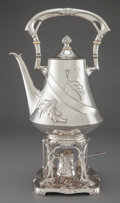 Silver Holloware, Continental:Holloware, A KARL JEDLICKA AUSTRIAN SILVER HOT WATER KETTLE ON STAND WITHBURNER . Karl Jedlicka, Vienna, Austria, circa 1900. Marks: (...(Total: 3 Items)