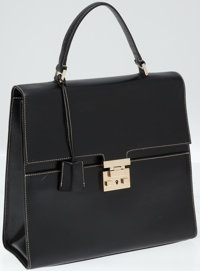 Gucci Black Leather Structured Bag with White Stitching