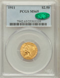 Indian Quarter Eagles: , 1911 $2 1/2 MS65 PCGS. CAC. PCGS Population (93/1). NGC Census:(174/6). Mintage: 704,000. Numismedia Wsl. Price for proble...