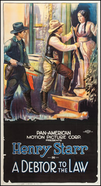 "A Debtor to the Law (Pan American, 1919). Three Sheet (41.5"" X 77""). Western"