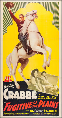 "Fugitive of the Plains (PRC, 1943). Three Sheet (41"" X 78""). Western"