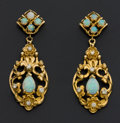 Estate Jewelry:Earrings, Vintage Opal & Gold Earrings. ...