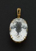 Estate Jewelry:Pendants and Lockets, Vintage Clear Large Stone Gold Pendant. ...