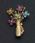 Estate Jewelry:Brooches - Pins, Early Diamond & Gold Multi-Color Flower Brooch. ...