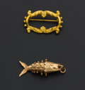 "Estate Jewelry:Other , Gold Fish Pendant & Vintage Gold ""Gali"" Pin. ... (Total: 2Items)"