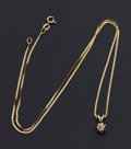 Estate Jewelry:Necklaces, Gold Necklace With Diamond Drop. ...