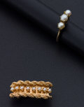 Estate Jewelry:Pearls, Pearl & Gold Brooch & Ring. ...