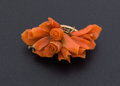 Estate Jewelry:Brooches - Pins, Victorian Carved Coral Gold Brooch. ...