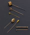 Estate Jewelry:Stick Pins and Hat Pins, A Lot Of Five Stick Pins & One Bar Pin. ... (Total: 6 Items)