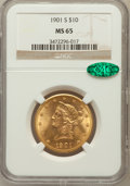 Liberty Eagles: , 1901-S $10 MS65 NGC. CAC. NGC Census: (1220/285). PCGS Population(937/173). Mintage: 2,812,750. Numismedia Wsl. Price for ...