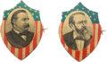 Political:Ferrotypes / Photo Badges (pre-1896), Grover Cleveland and Benjamin Harrison: Lithographed Shields....(Total: 2 Items)