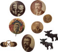 Political:Pinback Buttons (1896-present), Theodore Roosevelt: Nine Buttons.... (Total: 9 Items)