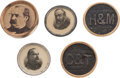 Political:Ferrotypes / Photo Badges (pre-1896), Grover Cleveland and Benjamin Harrison: Studs and Cufflink....(Total: 5 Items)