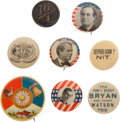 Political:Pinback Buttons (1896-present), William Jennings Bryan: Eight Buttons.... (Total: 8 Items)