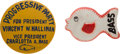 Political:Pinback Buttons (1896-present), Halliman & Bass: 1952 Third Party Buttons.... (Total: 2 Items)