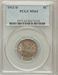 Liberty Nickels: , 1912-D 5C MS64 PCGS. PCGS Population (287/167). NGC Census:(305/115). Mintage: 8,474,000. Numismedia Wsl. Price for proble...