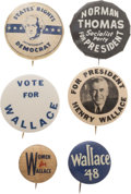 Political:Pinback Buttons (1896-present), Henry Wallace et al: 1948 Third Party Buttons.... (Total: 6 Items)