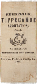 Political:Ribbons & Badges, William Henry Harrison: 1840 Frederick County, Virginia Tippecanoe Association Ribbon. ...