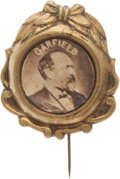 Political:Ferrotypes / Photo Badges (pre-1896), James A. Garfield. Distinctive Albumen Portrait Stickpin....
