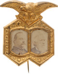 Political:Ferrotypes / Photo Badges (pre-1896), Cleveland & Thurman: Minty Jugate Badge. ...