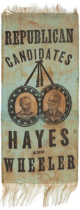 Political:Ribbons & Badges, Hayes & Wheeler: Jugate Ribbon with Paper Portraits. ...