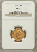 Three Dollar Gold Pieces: , 1856-S $3 VF25 NGC. NGC Census: (14/464). PCGS Population (23/346).Mintage: 34,500. Numismedia Wsl. Price for problem free...
