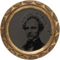 Political:Ferrotypes / Photo Badges (pre-1896), Horatio Seymour: Ferrotype With Scalloped Brass Frame. ...