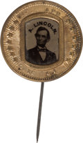 Political:Ferrotypes / Photo Badges (pre-1896), Abraham Lincoln: 1864 Ferrotype Stickpin....